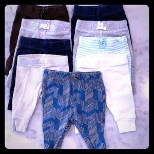 Newborn Boy Pants Bundle- 9 pairs of pants